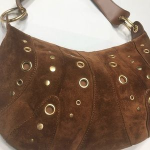 Valerie Stevens genuine leather gold camel bag